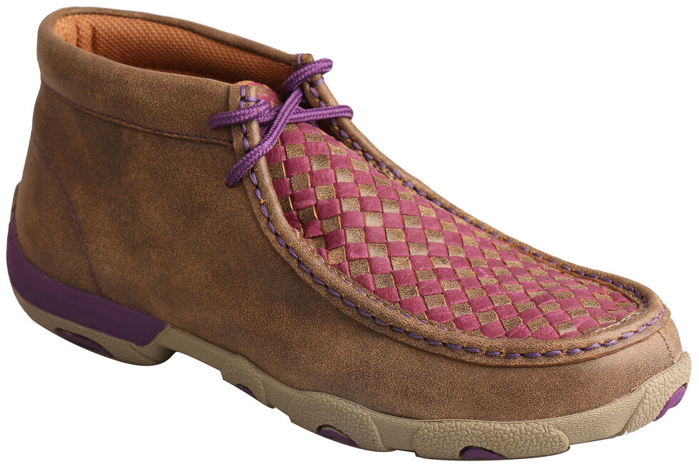 Twisted X Women's Brown & Purple Check Driving Mocs , Brown, hi-res
