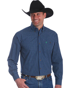 Wrangler Men's Navy George Strait Button Down Plaid Shirt, Navy, hi-res