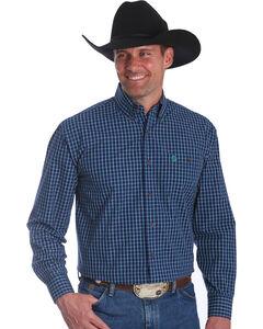 Wrangler Men's Navy George Strait Button Down Plaid Shirt - Big & Tall , Navy, hi-res