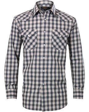 Pendleton Men's Square Pattern Long Sleeve Western Shirt, Navy, hi-res