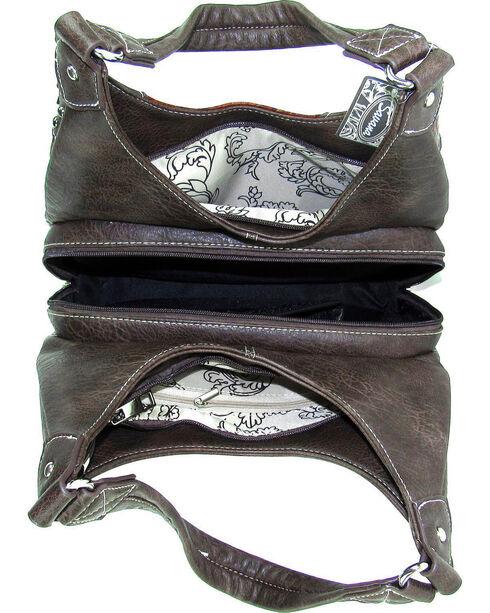 Savana Women's Fierce Conceal Carry Snake and Stud Handbag , Tan, hi-res