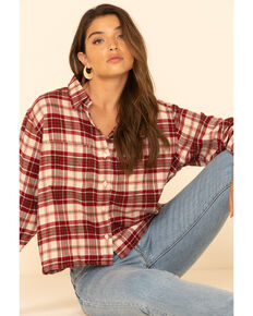 Levi's Women's Burgundy Flannel Plaid Utility Crop Long Sleeve Western Shirt, Burgundy, hi-res
