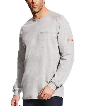 Ariat Men's FR Air Crew Long Sleeve Shirt, Grey, hi-res
