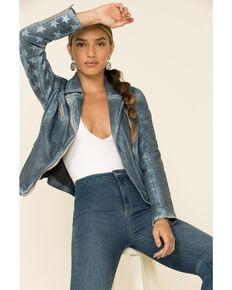 Mauritius Women's Sky Blue Sofia Star Sleeve Leather Jacket , Light Blue, hi-res