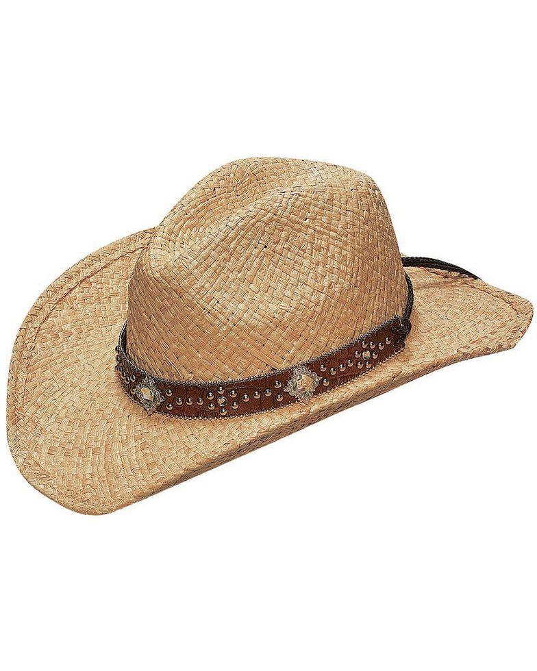 Blazin Roxx Scroll Studded Croc Print Hat Band Raffia Straw Cowgirl Hat, Natural, hi-res