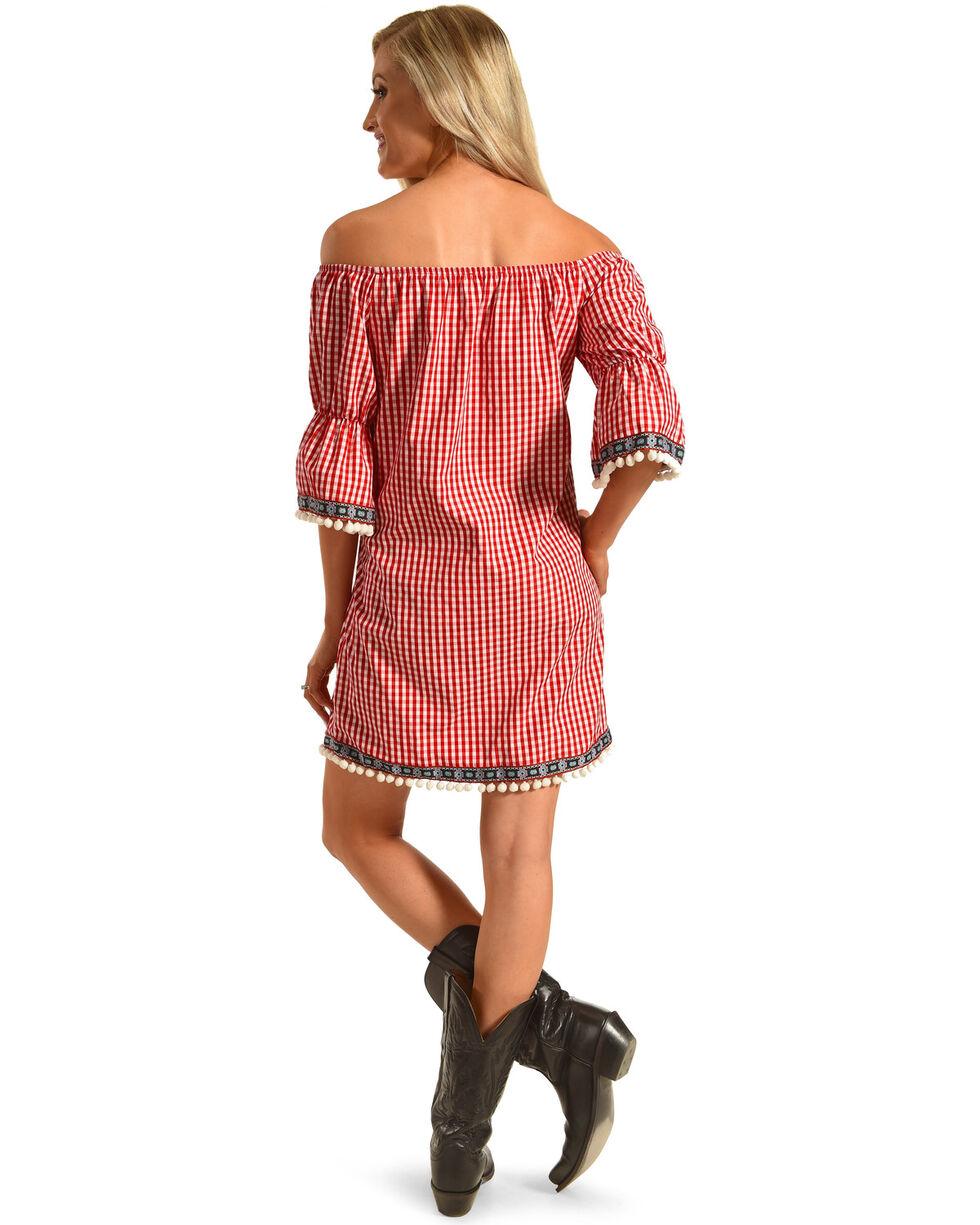 Ces Femme Women's Pom Pom Off The Shoulder Dress, Red, hi-res
