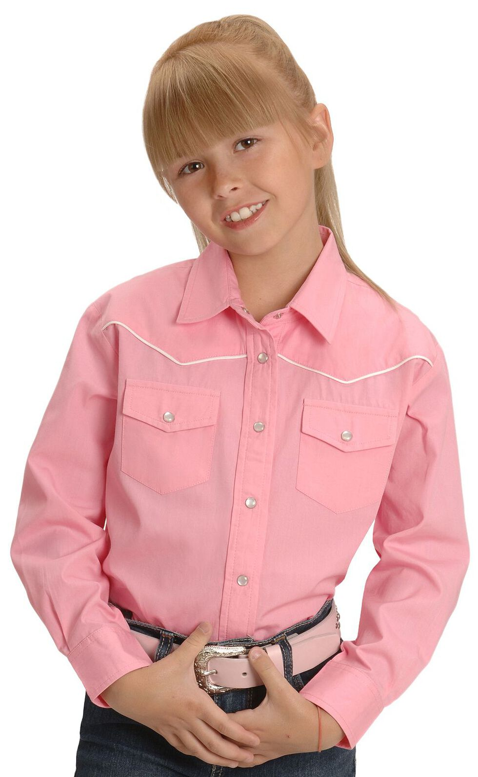 Cumberland Outfitters Girls' Pink Western Shirt - 4-16, Pink, hi-res