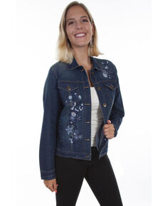 Honey Creek by Scully Women's Floral Embroidery Denim Jacket, Blue, hi-res