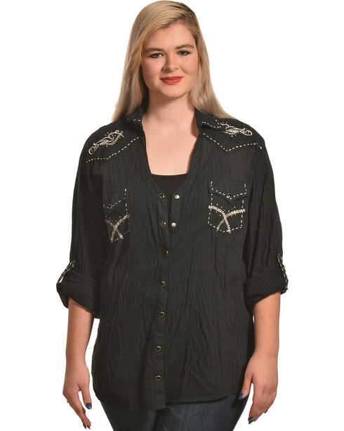 Panhandle Women's Embroidered Long Sleeve Crinkle Snap Shirt - Plus, Black, hi-res