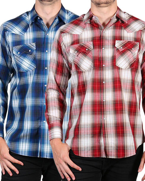 Ely Cattleman Men's Assorted Textured Plaid Shirt - Tall , Multi, hi-res