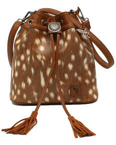 Angel Ranch Women's Bucket Bag, Brown, hi-res