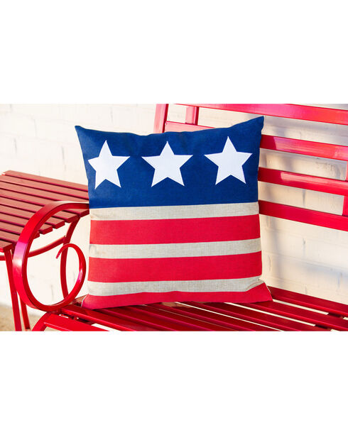 Evergreen Stars and Stripes Outdoor Pillow , Red/white/blue, hi-res