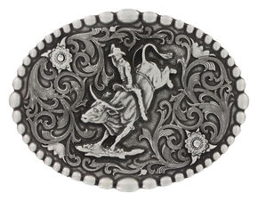 Montana Silversmiths Classic Oval Beaded Trim Attitude Belt Buckle, Silver, hi-res