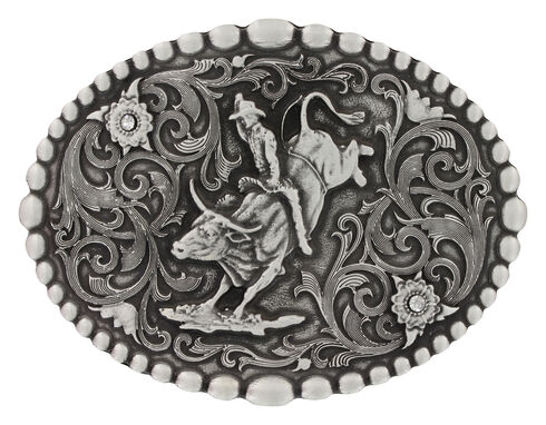 Montana Silversmiths Classic Oval Beaded Trim Attitude Belt Buckle, Silver, hi-res