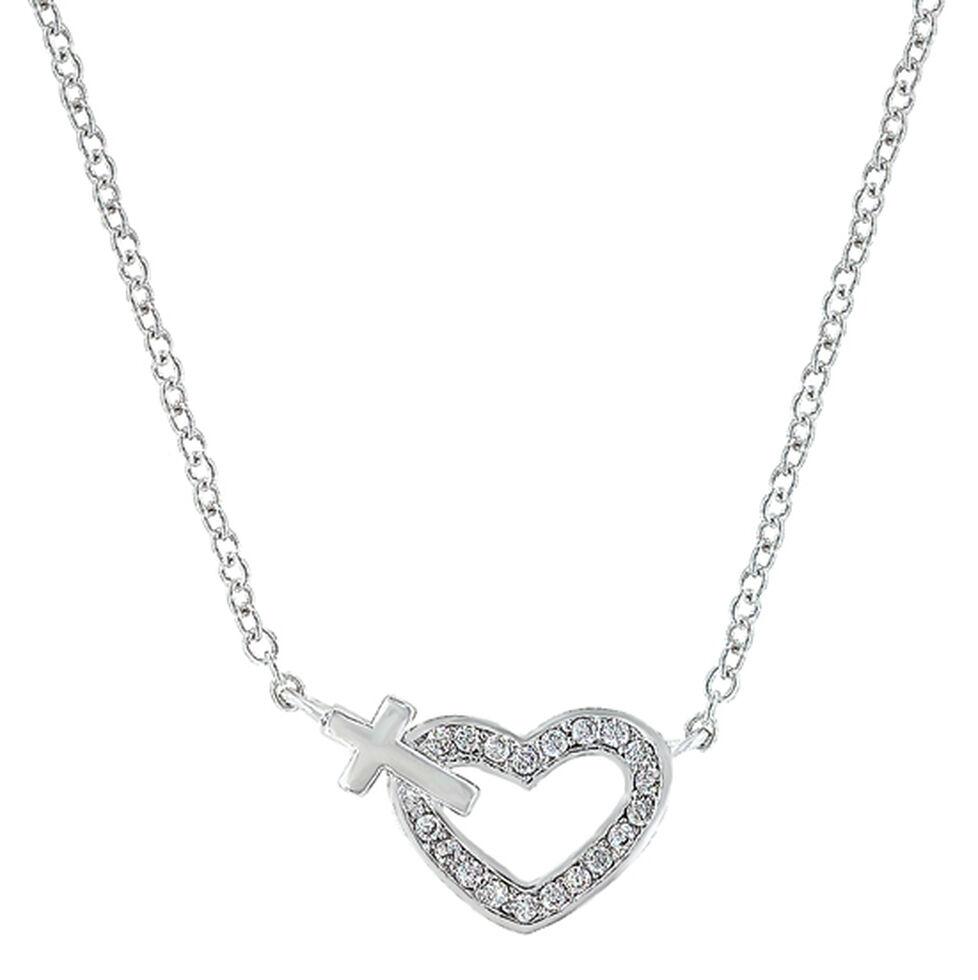Montana Silversmiths Women's Heart of Faith Necklace , Silver, hi-res