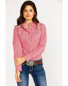 Ariat Women's REAL Hibiscus Authentic Snap Western Shirt, Coral, hi-res