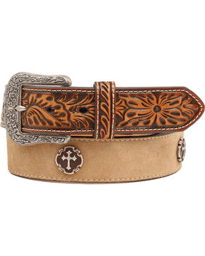 Ariat Men's Cross Concho Embossed Leather Belt, Natural, hi-res