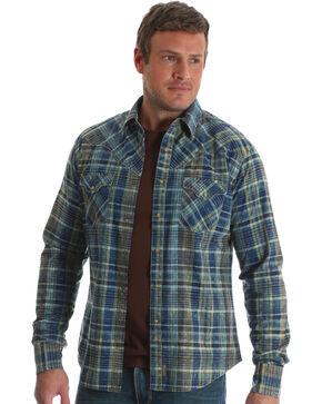 Wrangler Men's Blue Retro Long Sleeve Plaid Shirt , Blue, hi-res