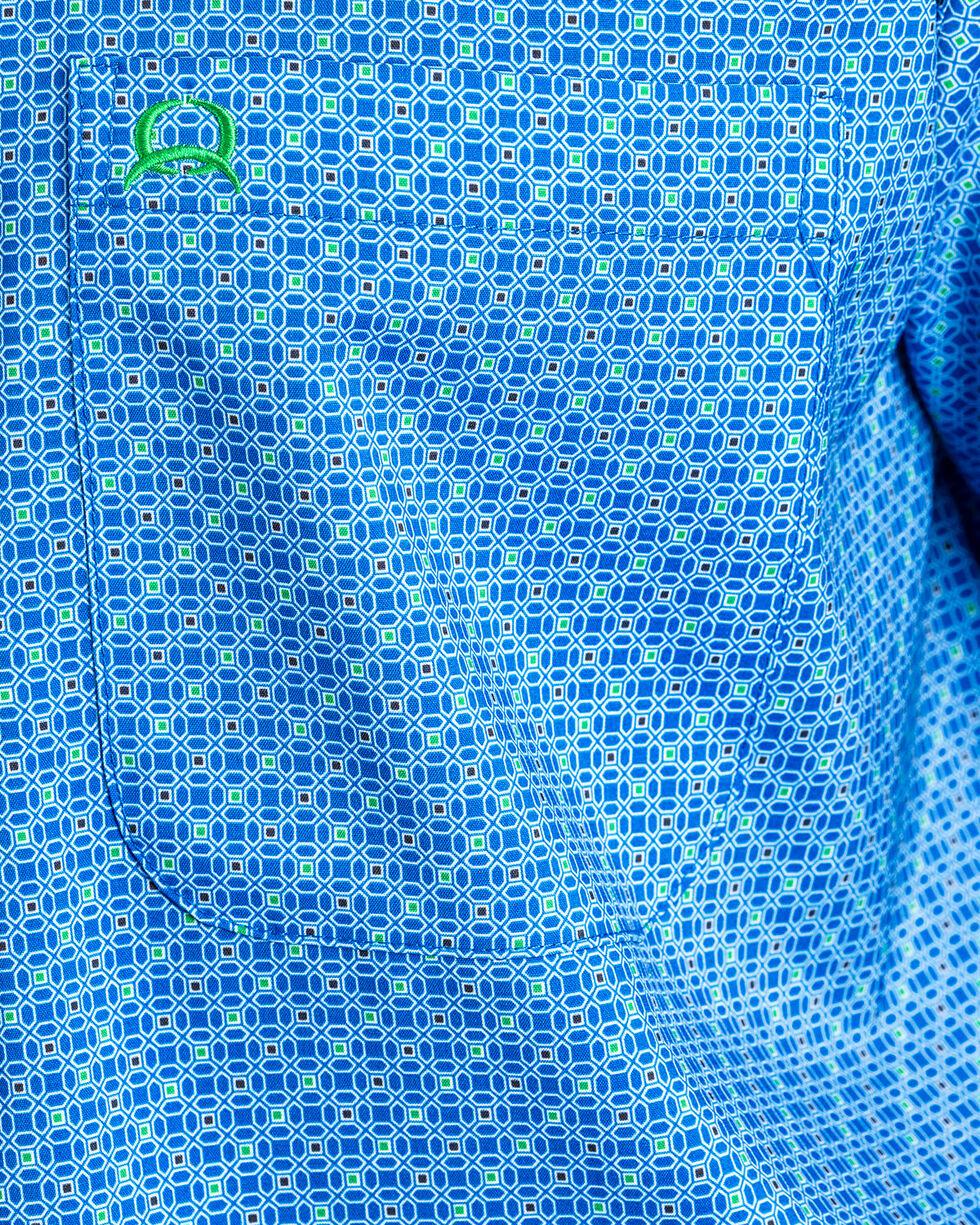Cinch Men's ArenaFlex Plaid Short Sleeve Button Down Shirt , Blue, hi-res