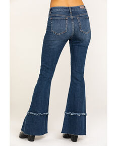 Miss Me Women's Medium High Rise Destructed Flare Jeans, Blue, hi-res