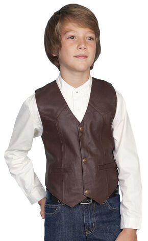 Scully Boys' Lambskin Vest, Brown, hi-res