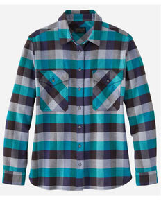 Pendleton Women's Turquoise Plaid Elbow Patch Western Flannel Shirt , Turquoise, hi-res