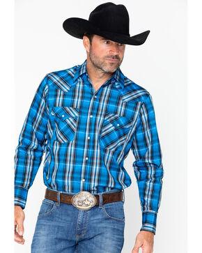 Ely Cattleman Men's Western Woven Textured Lurex Plaid, Blue, hi-res