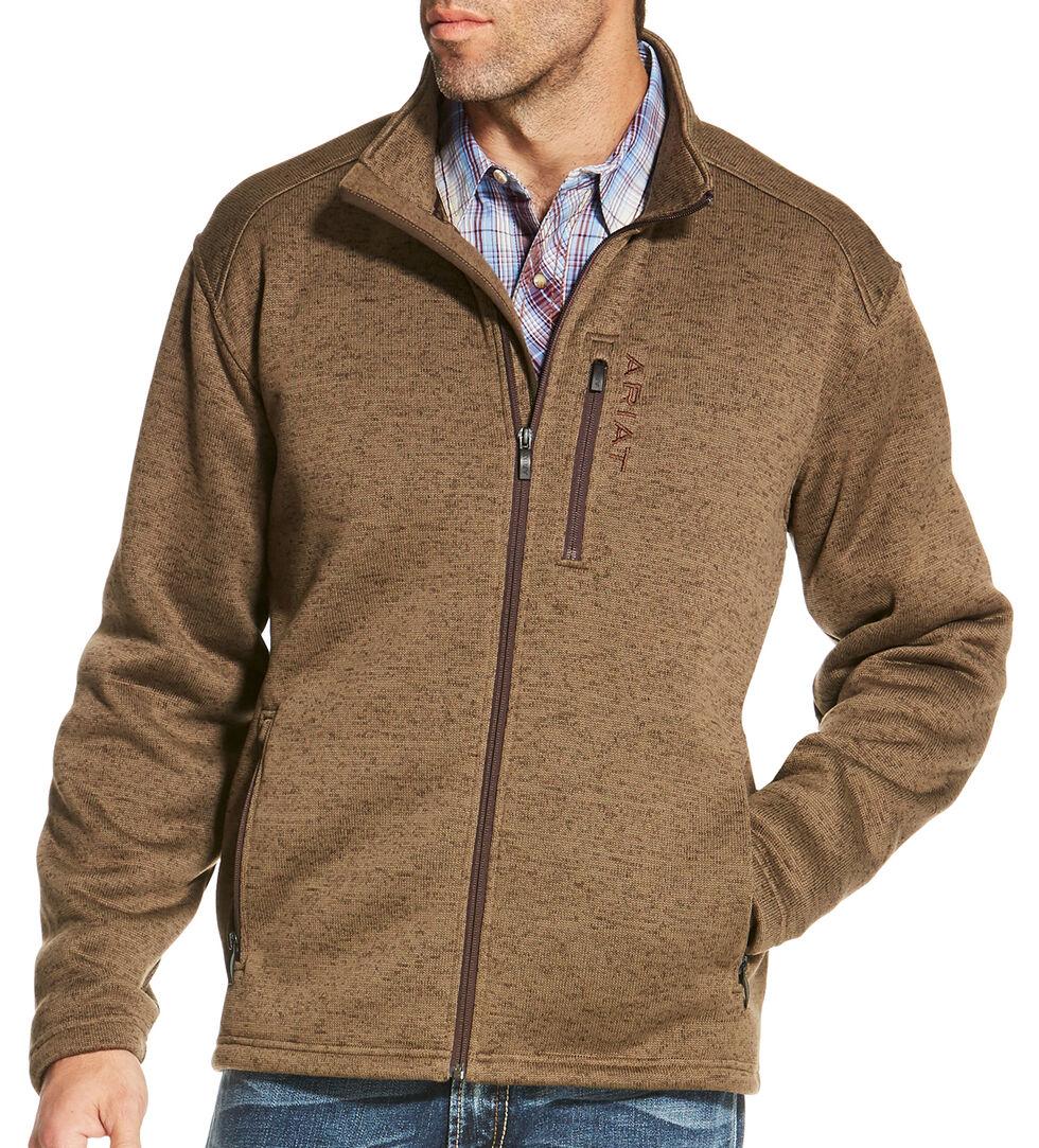 Ariat Men's Light Brown Caldwell Full Zip Sweater Jacket, Light Brown, hi-res