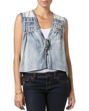 Miss Me Chambray Front Tie Vest , Chambray, hi-res