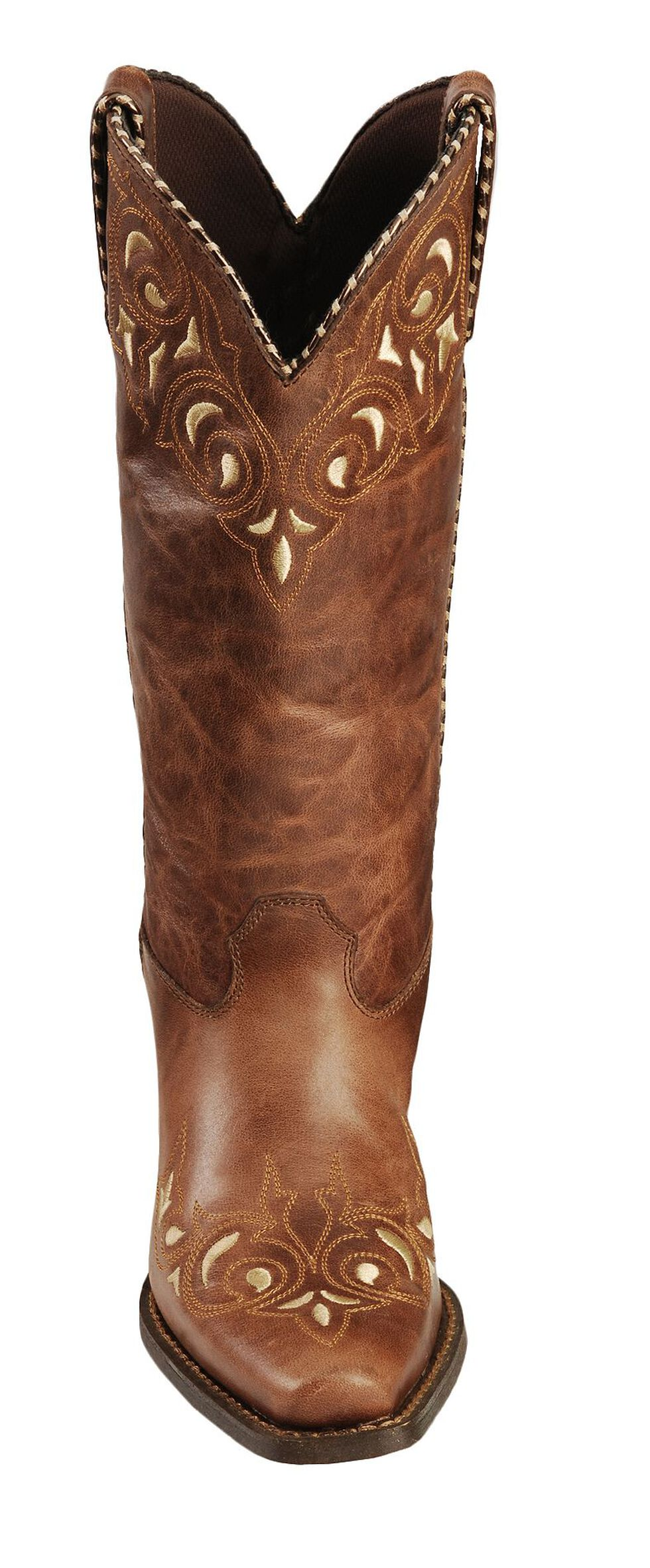 Durango Sassy Whipstitch Cowgirl Boots - Square Toe, Brown, hi-res