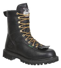 Georgia Waterproof Low Heel Logger Boots, Black, hi-res
