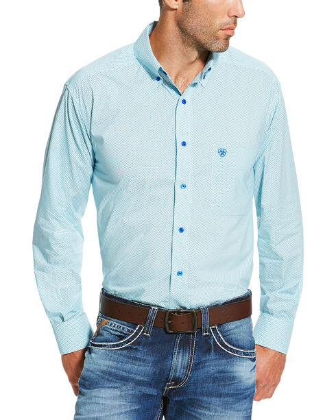 Ariat Men's Turquoise Irondale Geo Print Long Sleeve Shirt , Turquoise, hi-res