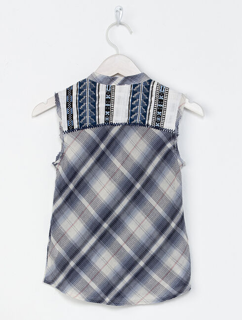 Miss Me Girls' Blue Cool It Sleeveless Plaid Top , Blue, hi-res