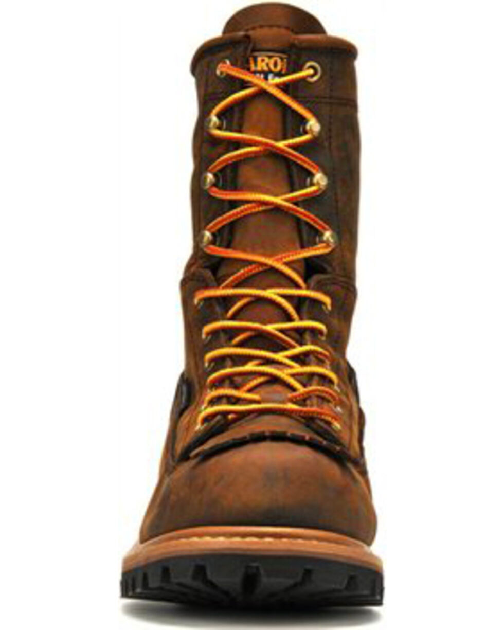 "Carolina Men's Brown 8"" Waterproof Lace-to-Toe Logger Boots - Round Toe, Brown, hi-res"
