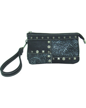 Savana Women's Faux Leather Clutch Patchwork Wristlet , Black, hi-res