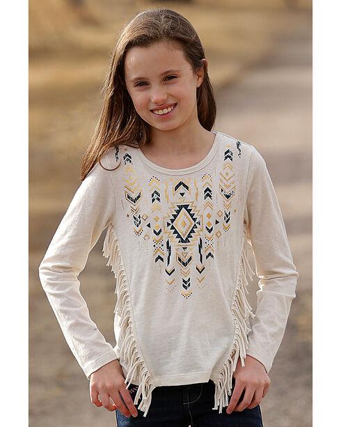 Cruel Girl Girls' Cream Aztec Print Fringe Top , Cream, hi-res