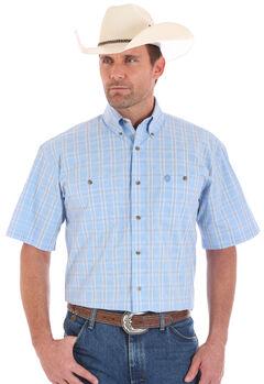 Wrangler George Strait Men's Short Sleeve  Blue Plaid Two Pocket Button Shirt, Blue, hi-res
