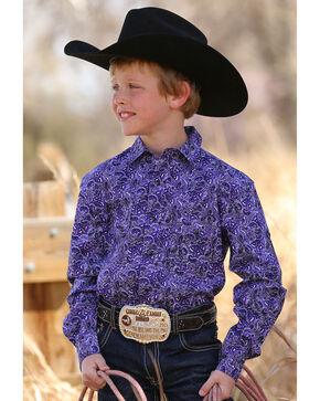 Cinch Boys' Purple Paisley Long Sleeve Western Snap Shirt, Purple, hi-res