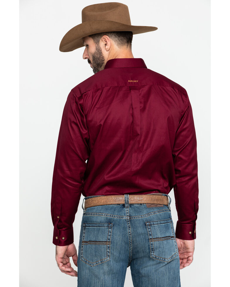 Ariat Men's Burgundy Solid Twill Long Sleeve Western Shirt, Burgundy, hi-res