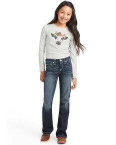 Ariat Girls' R.E.A.L Journee Medium Wash Stretch Bootcut Jeans , Blue, hi-res