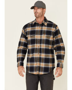 Wrangler Riggs Men's Navy & Tan Large Plaid Long Sleeve Button-Down Work Flannel Shirt , Navy, hi-res