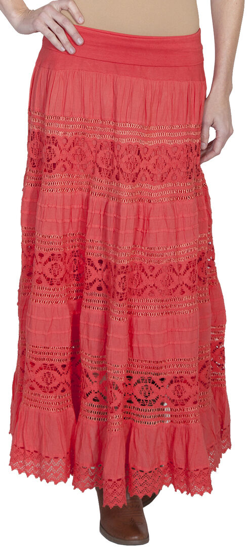Scully Tiered Crocheted Skirt, Coral, hi-res