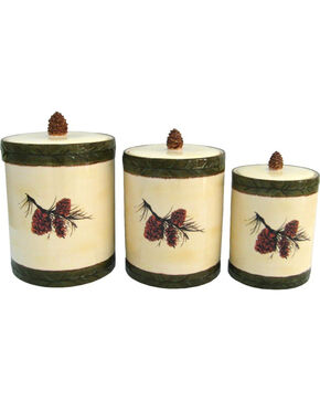 HiEnd Accents 3 PC Pine Cone Canister Set, Multi, hi-res