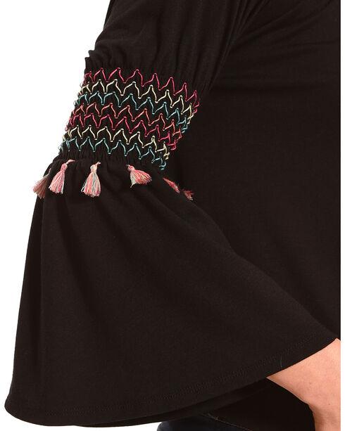 Derek Heart Women's Black Stitched Peasant Blouse , Black, hi-res