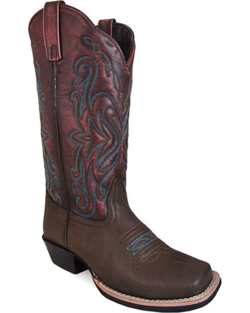 Smoky Mountain Women's Hi-lo Fusion #2 Western Boots - Square Toe , Brown, hi-res