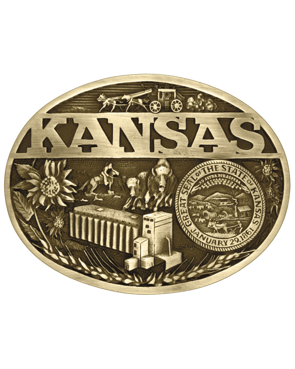 Montana Silversmiths Kansas State Heritage Attitude Belt Buckle, Gold, hi-res