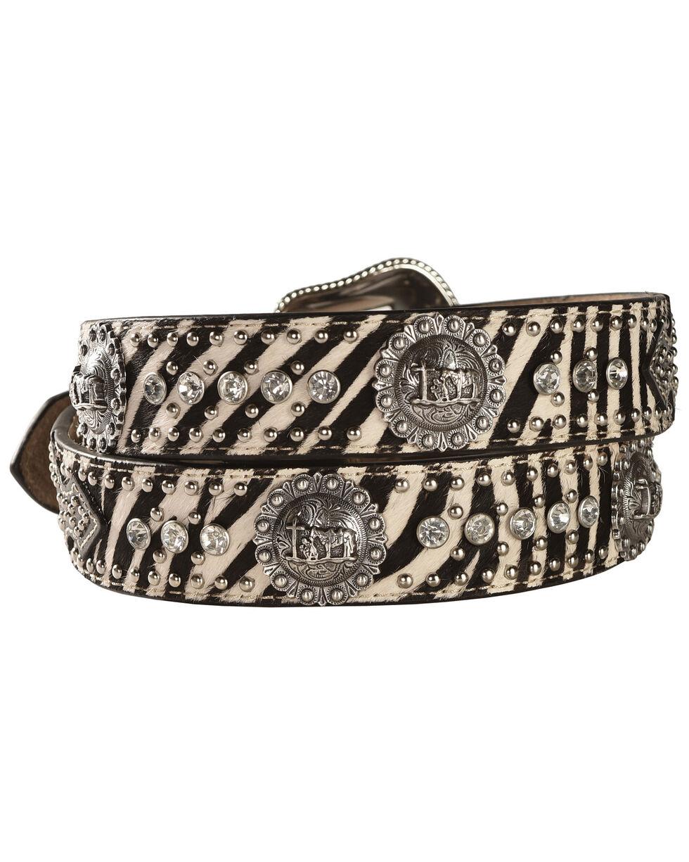 Nocona Zebra Print Hair-on-Hide Cowboy Prayer Concho Western Belt, Multi, hi-res