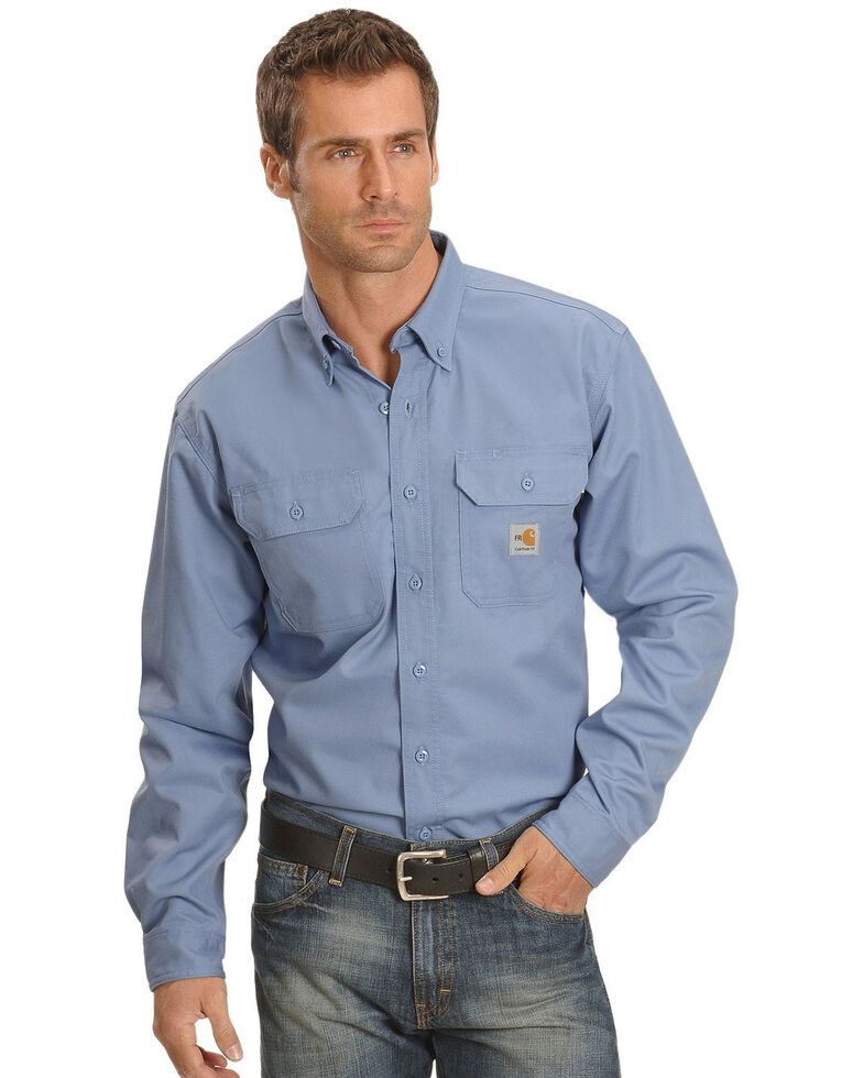 Carhartt Men's FR Solid Two-Pocket Long Sleeve Work Shirt, Blue, hi-res