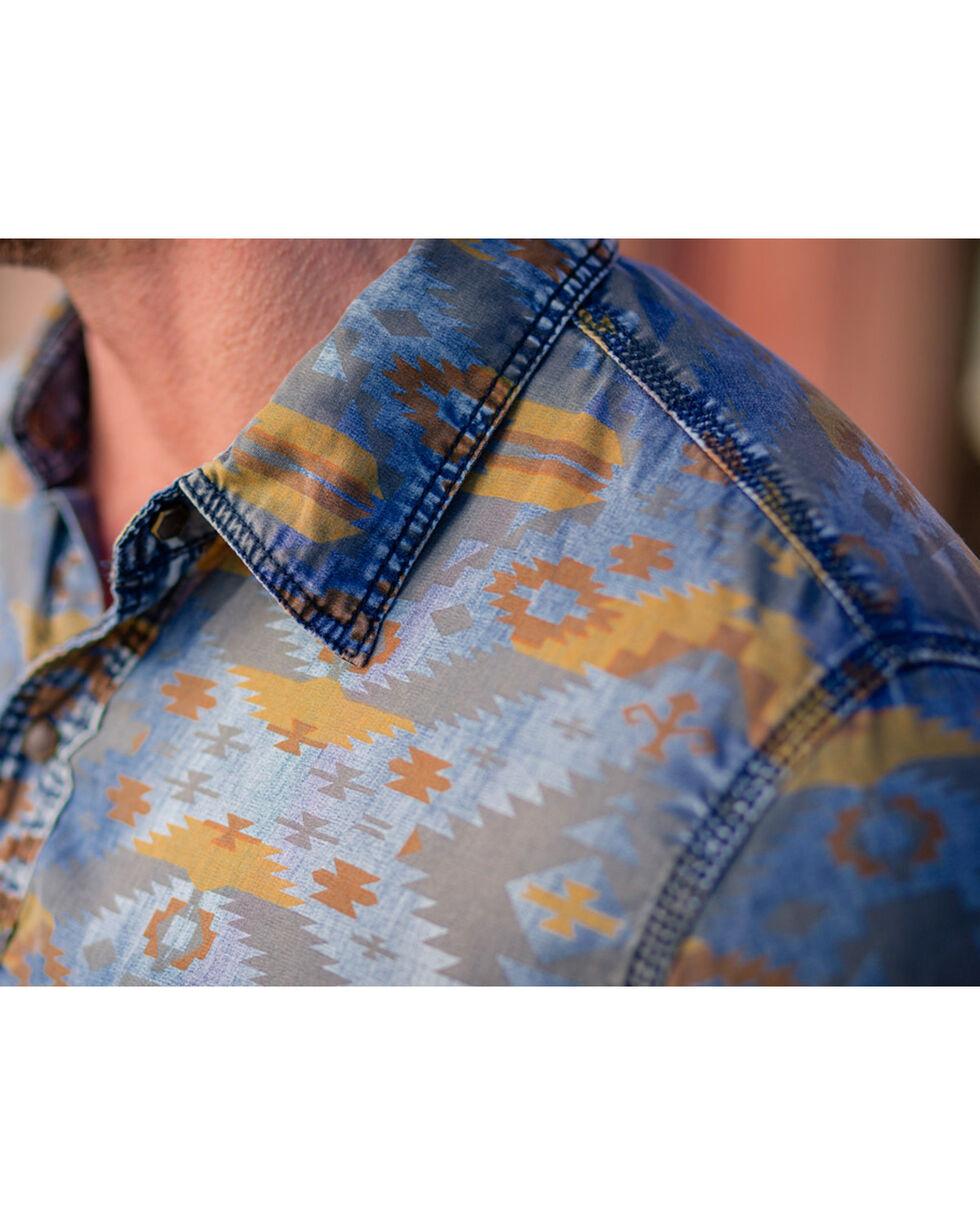 Ryan Michael Men's Aspen Geo Indigo Print Shirt , Indigo, hi-res