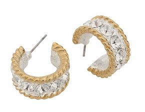Montana Silversmiths Two-Tone Roped Rhinestone Cuff Earrings, Silver, hi-res